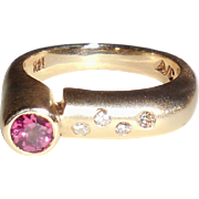 Modernist 14k Gold VS1 Diamonds Pink Tourmaline Ring 6