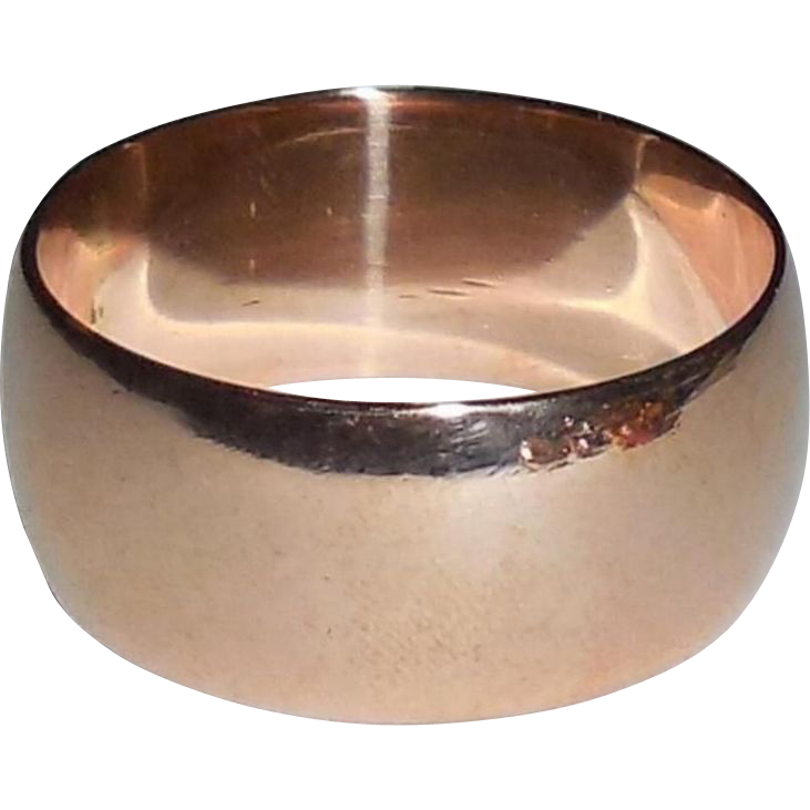 Antique Victorian 14K Rose Gold Wide Heavy Hand Made Cigar Band
