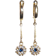 14K Yellow Gold Wide Locking Leverback Dangle Earrings CZ Dyed Topaz Paste