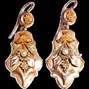 Antique Victorian 14K Gold Long Dangle Earrings