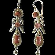 Antique Victorian 14k Gold Angelskin Coral Fancy Dangle Earrings