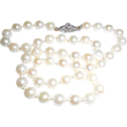 Vintage 14k White Gold 6mm Cultured Pearls Necklace