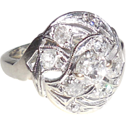 Late Art Deco 14K White Gold Mine Cut Diamond Ring .6CT Size 5
