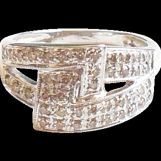 14k White Gold .56 CT Diamond Ring Buckle Shape 7.75