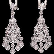 Vintage 14K White Gold Diamonds Chandelier Earrings Pierced Medium