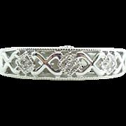 4.5gr Chunky 14k White Gold Diamond Fancy Ring Band 6.75