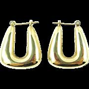 14K Gold Trapezoid Hoop Earrings