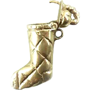 Vintage 14k Gold Christmas Stocking Stuffer Charm Movable Stuffable