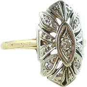 Late Edwardian Early Art Deco 14k Gold Diamond Filigree Ring Size 8