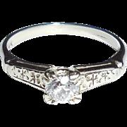 Vintage Art Deco 14K White Gold .25CT Mine Cut Diamond Ring Hand Cut Size 5.75