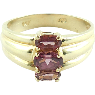 14k Gold Pink Red Rubellite Tourmaline Vertical 3 Stone Ring Size 8