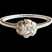 1920s Art Deco 18K White Gold Small Diamond Ring XL 9.5