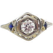 Early Art Deco 18K White Gold Diamond Sapphire Ring 5