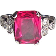 Art Deco 18K White Gold Diamond Synthetic Ruby Ring 5.75