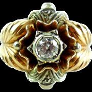 Chunky Fancy 18k Gold .7 Carat Diamond Art Deco Estate Ring Size 8.5