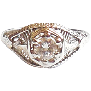 1920s Edwardian Art Deco 18K White Gold Diamond Ring 6.75
