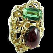 Large Heavy  Vintage Hand Wrought 18K Yellow Gold Tourmaline Garnet Ring Size 5.5