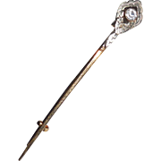 Antique 18k Gold French Paste Halleys Comet Pin Victorian Edwardian