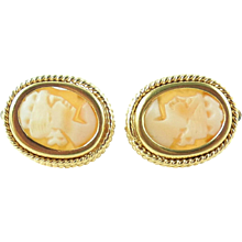 Vintage Thick Italian 18K Gold Carved Shell Cameo Leverback Earrings Pierced