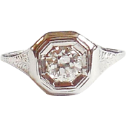 1920s Early Art Deco 18K White Gold Mine Cut Diamond Ring 7.5