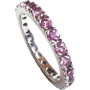 18K White Gold Pink Sapphires Eternity Ring Band 6.75 Stacker Stacking