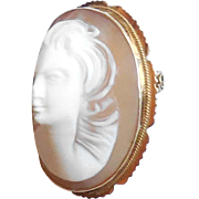 Art Deco 18K Gold Raised Full Face Shell Cameo Pendant Pin