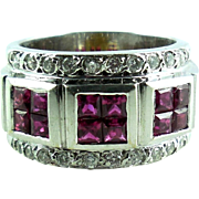 Chunky Wide 18K White Gold Ruby Diamond Cigar Band Ring Mens Womens 6.75