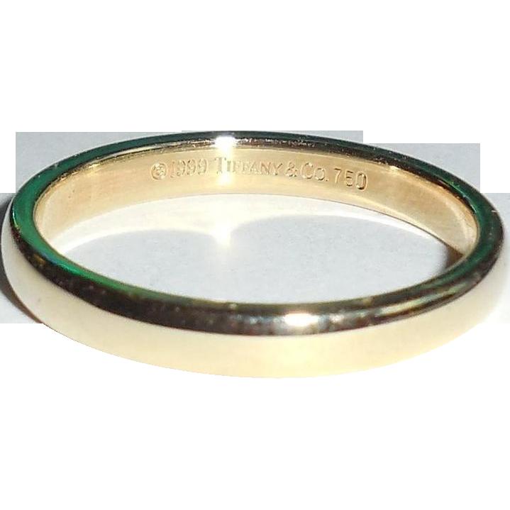 Tiffany Co Platinum 18k Gold 3mm Milgrain Wedding Band: Tiffany & Co 18K Yellow Gold 3mm Ring Band Or Stacking