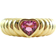 Tiffany & Co 18K Gold Rubellite Tourmaline Heart Ring 6.75