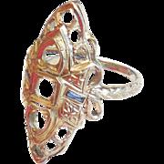 Large Antique Edwardian Art Deco 18K White Gold Ring Setting