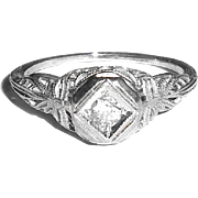 Art Deco 1920s Fancy Filigree 18K White Gold Diamond Ring