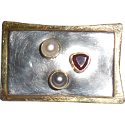 Michele Sonner Michou Sterling Silver Gold Garnet Pearl Pin