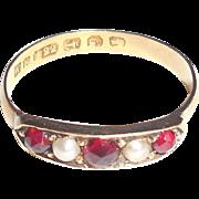 Antique 1855 Victorian 22K Gold Garnet Pearl Ring Birmingham Hallmarks