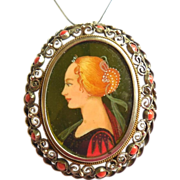 800 Silver Mediterranean Red Coral Hand Painted Portrait Pendant Pin