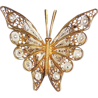 Vintage Portuguese 800 Silver Enameled Gold Filigree Butterfly Pin