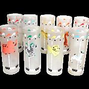 9 Vintage Libbey Carousel Animal Tall Bar Glasses Water Ice Tea Tom Collins Lemonade - Red Tag Sale Item