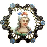 Antique Victorian Hallmarked Small Hand Painted Enameled Portrait Pin