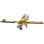 Antique Art Nouveau 14k Gold Sapphire Seed Pearl Lily Pin