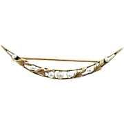 Antique 1910 Art Nuveau Edwardian 10k Gold Baroque Pearls Crescent Pin Hayden Wheeler