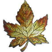 XL Antique Victorian Enameled Sterling Silver Maple Leaf Pin