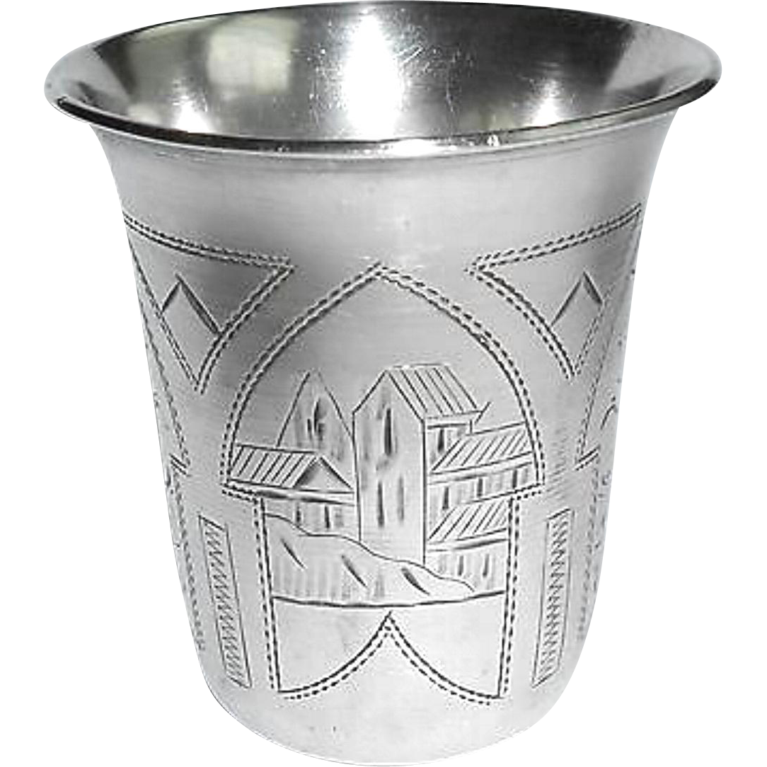 Antique 1892 Russian Silver Israel E Zakhoder Kiddush Cup