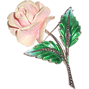 Art Deco 1930s Sterling Silver Marcasite Carved Enameled Flower Pin Brooch Germany