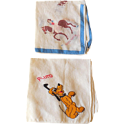 Art Deco 1930s Walt Disney Enterprises Handkerchiefs Pluto Snow White Hankies