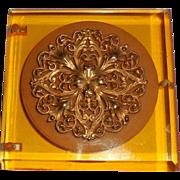 Vintage Mid Century Applejuice Bakelite Vanity Compact w Box
