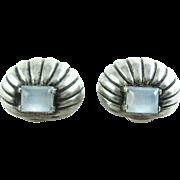 Art Deco 1940 Parisina Marcel Boucher Moonstone Earrings Taxco