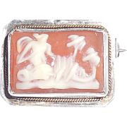 Antique Edwardian Sterling Silver Gold Chariot Cameo Lingerie Pin S