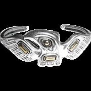 Older Carolyn Pollack Western Sterling Silver Brass Thunderbird Cuff Bracelet