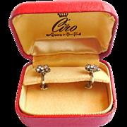 Art Deco Ciro London European Silver Paste Screw Earrings Orig Box