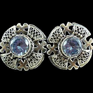 Early Vintage 980 Sterling Silver Blue Cross Screw Earrings Christian Crusader Pentecostal