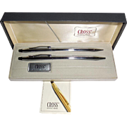 Cross Chrome 3501 Pen Pencil Set in Box Mint